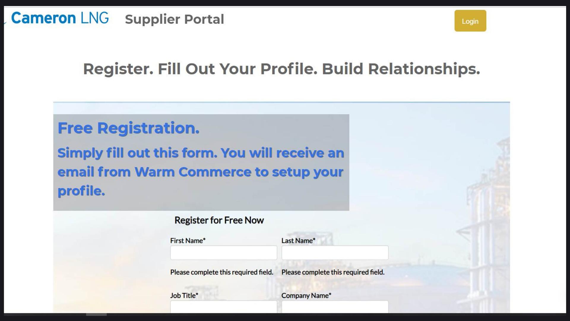Supplier portal and registration
